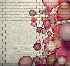 3d mosaic tile brick wall with pink bubble pattern u2014 stock photo