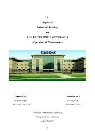 industrial training report of thermal power plant