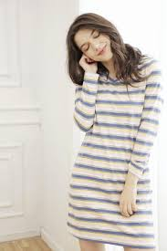 autumn brand nightgown women cotton dresses ladies casual striped