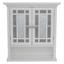 Wall Mounted Cabinet With Glass Doors by Elegant Home Windsor White Bathroom Wall Cabinet With 2 Doors And