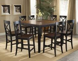 Height Of End Table by Transitional Distressed Black Counter Height Dining Room Table Set
