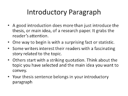 Introductory Paragraph A good introduction does more than just introduce the thesis or main     FAMU Online