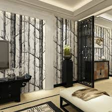 Wall Mural White Birch Trees Aliexpress Com Buy Birch Tree Pattern Non Woven Woods Wallpaper
