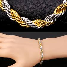 rope bracelet designs images Buy 2 tone bracelet rope chain men jewelry 316l jpg