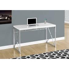 bureau chrome 48 l blanc lustre metal chrome