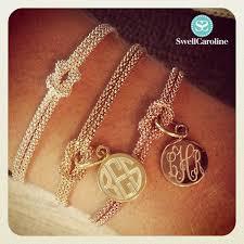 sterling silver monogram bracelet monogrammed square knot bracelet sterling silver gold or