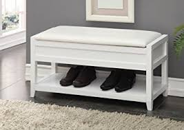 amazon com white bonded leather entryway shoe bench shelf storage