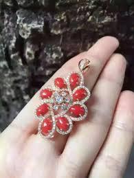 red precious coral pendant s925 silver natural gemstone pendant