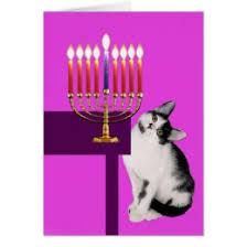 cat menorah cat hanukkah cards greeting photo cards zazzle