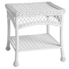 white wicker end table santa barbara white end table pier 1 imports
