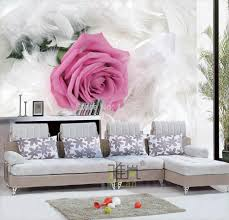 White Rose Bedroom Wallpaper Rose White Feather Wallpaper European Minimalist Bedroom Living