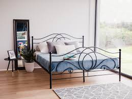 metal bed super king size bed frame 180x200 cm black lyra