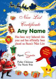 father christmas certificate nice list artificial pine christmas trees