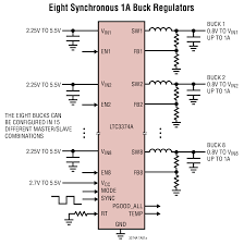 ltc3374a high accuracy 8 channel parallelable 1a buck dc dcs
