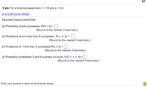 Binomial Tables For A Binomial Experiment N U003d 16 And P U003d 0 2 Link Chegg Com