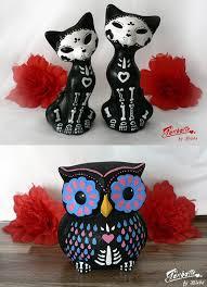 sugar skull owl and cat sculptures skullspiration com skull