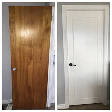 updated old wood doors to a modern look with wood trim primer