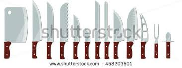 different types of kitchen knives different types kitchen knives isolated on stock vector 458203501