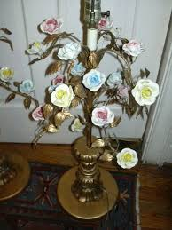 Italian Porcelain Chandelier Pair Italian Florentine Lamps With Porcelain Flowers From Antiques