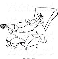 vector of a cartoon bored man slumped in a chair and holding a