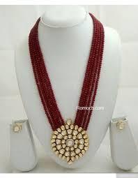 long red pendant necklace images 5 layered red beads vilandi kundan round pendant long necklace set jpeg