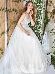 hem wedding dress papilio illusion neckline gown wedding dress with scalloped