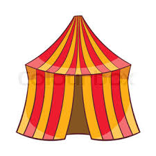 illustration open circus stripe tent isolated on white background