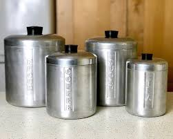 vintage kitchen canister sets vintage kitchen canister set aluminum 1940s kitchen decor flour