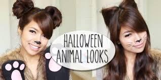 long hair style showing ears diy halloween costume ideas bear cat ears hairstyle makeup