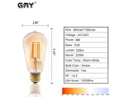 gmy lighting vintage edison led bulb 4w st21 dimmable led light