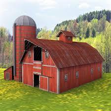 farm red barn silo