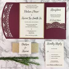 pocket wedding invitations doily laser cut pocket wedding invitation cz invitations