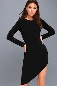sleeve black dress chic black dress sleeve dress asymmetrical dress