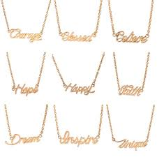 gold plated monogram necklace wholesale fashion gold plated monogram necklace words pendant