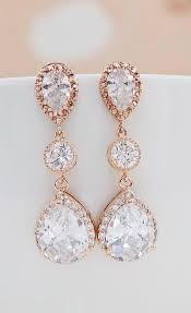 prom accessories cubic zirconia with cz connector bridal earrings gold