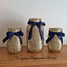 Blue And Gold Baby Shower Decorations by 3 Jars Navy And Gold Mason Jar Set Centerpiece Set Navy And