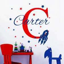 personalized name wall decals rocket ship decal star stickers personalized name wall decals rocket ship decal star stickers nursery baby boy room decor custom monogram name decal art yk 4 in wall stickers from home