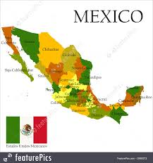 Map Of Mexico by Illustration Of Mercator Map Of Mexico And Flag