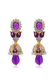 jhumki style earrings diamond purple meenakari jhumki style earrings 1304809