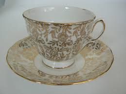 Vintage China Patterns by Vintage Ridgway Royal Vale Gold Floral Pattern Teacup Saucer Bone