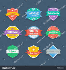 flat color badges promotion design stock vector 196747865