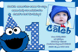 Invitation Cards For First Birthday Cookie Monster Birthday Invitations Plumegiant Com