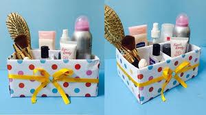 diy makeup organizer box cardboard cosmetic box making at home by sland
