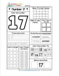 number worksheets for kindergarten number 17 worksheet