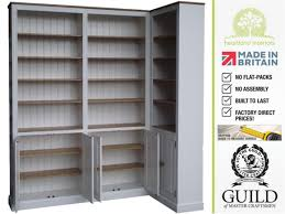 solid wood 8ft tall corner bookcase with doors