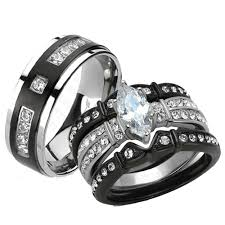 black band engagement rings st1922 arti4317 his 4pc black stainless steel titanium