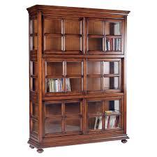 Glass Door Bookshelves by Brown Wooden Bookshelves Featuring Glass Door Of Cool Interior And