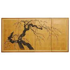 japanese four panel byobu screen cherry blossom tree at 1stdibs