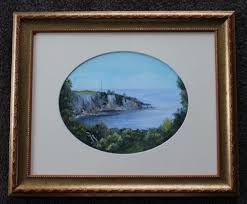 framed under glass fabulous signed oil painting of eden nsw oil and paintings