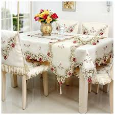 dining table chair covers beautiful beige pastoral cutwork embroidered table linens dining